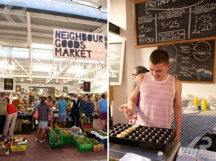 The parking garage at the Old Biscuit Mill overflows with food and craft vendors every Saturday during Neighbourgoods Market (left). Head to the food area to sample anything from kudu burgers to Dutch bitterballen (right).