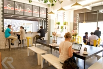 The Superette cafe serves lunch and dinner in a bright atmosphere at the Woodstock Exchange, a vibrant work and retail space in the Woodstock neighborhood of Cape Town.
