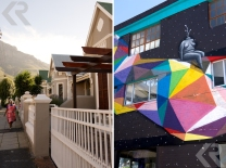 A scene of typical Victorian houses along Roodebloem Road in Woodstock (right). Colorful artwork covers one of the walls of Side Street Studios, a network of art and design studios that also houses cafes and shops (right).