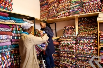 Ashanti Designs sells woven goods such as beanbag covers, computer bags, and lampshades on Sir Lowry Road in the Cape Town's Woodstock neighborhood.