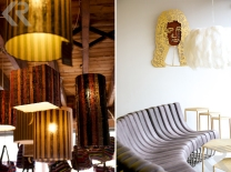 Lanterns on display at Ashanti Designs (left) and the minimalist storefront for Haldane Martin designs (right).