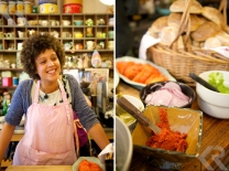 """Karen Dudley's Kitchen is a cozy lunch spot with friendly staff (left) and amazing sandwiches like the """"Love"""" sandwich (right)."""