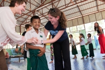 Playing games at a Burmese orphanage.