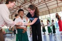 Playing games at a Burmese orphanage.