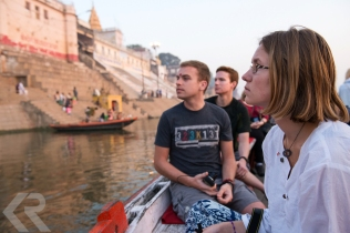 Students on a boat on the Ganges River.