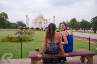 American students at the Taj Mahal in India.
