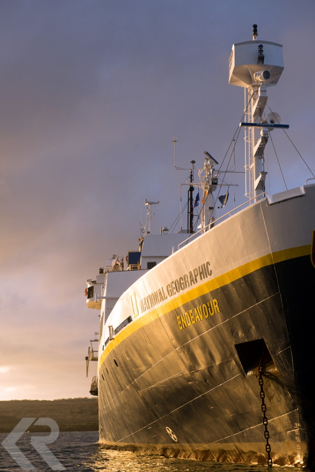 National Geographic Endeavour ship at sunset.