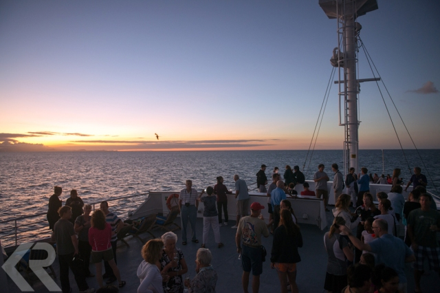 Guests on the bow of the National Geographic Endeavour