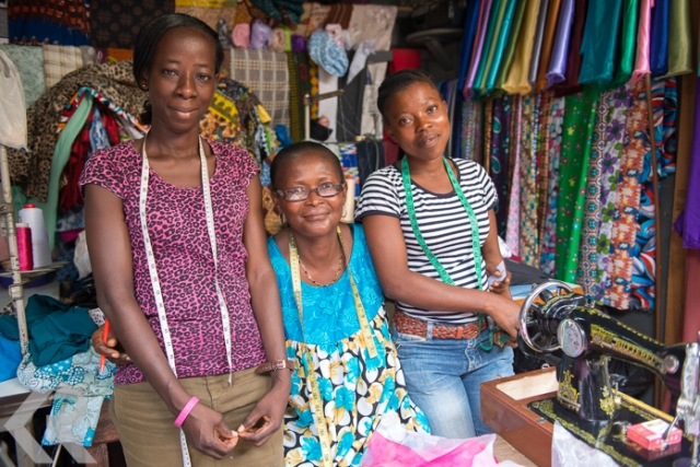 Picture of women at their sewing stall in Takoradi