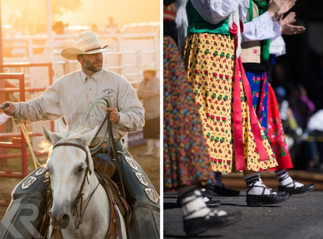 Picture of a roper at a Texas rodeo and women in Basque costumes at a parade