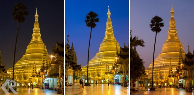 Examples of changing light at Shwedagon Pagoda in Myanmar at dawn.