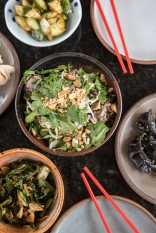 Dumplings, Thai beef salad, Szechuan cucumbers, and gai lon at Gan Shan Station, an Asian fusion restaurant.