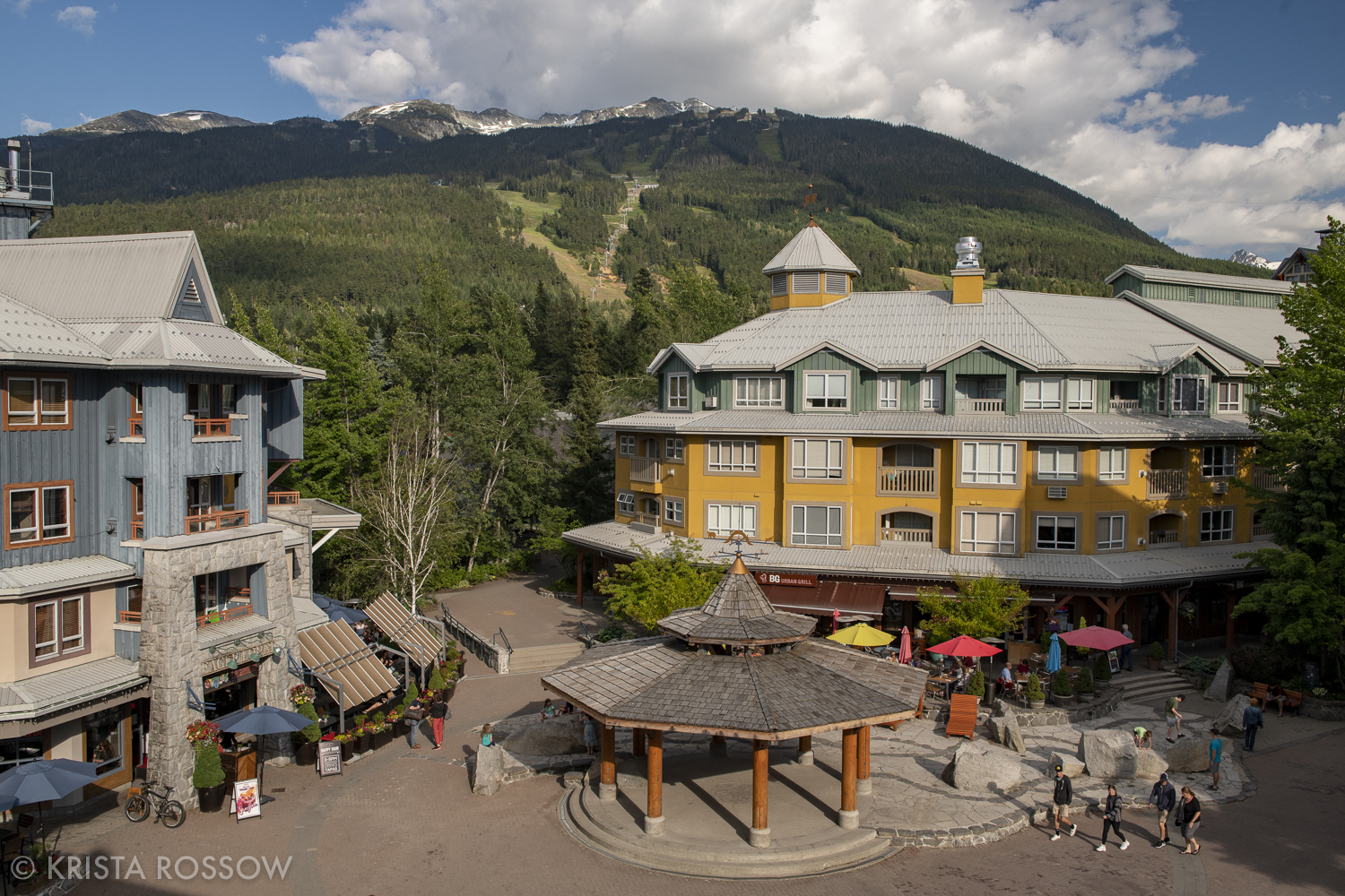 The Town Plaza in Whistler VIllage, British Columbia, Canada.
